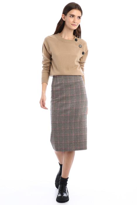 Buttoned wool yarn sweater Intrend