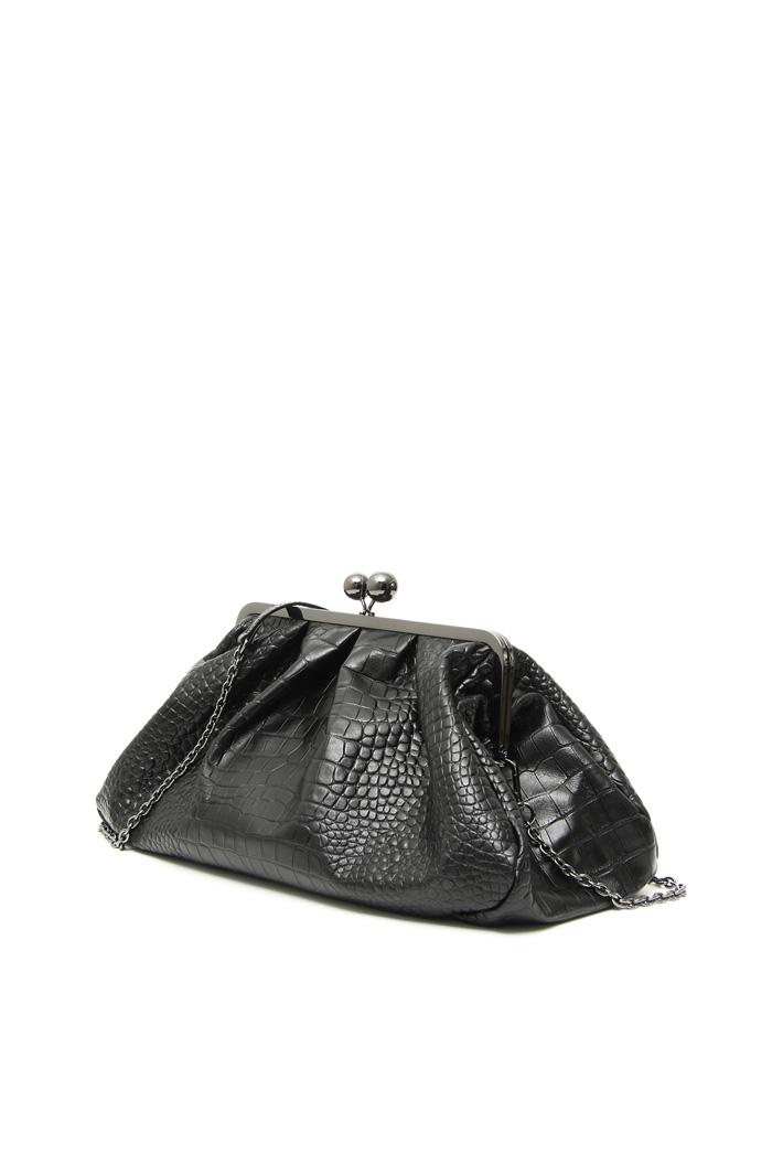 Large croc-print leather clutch Intrend