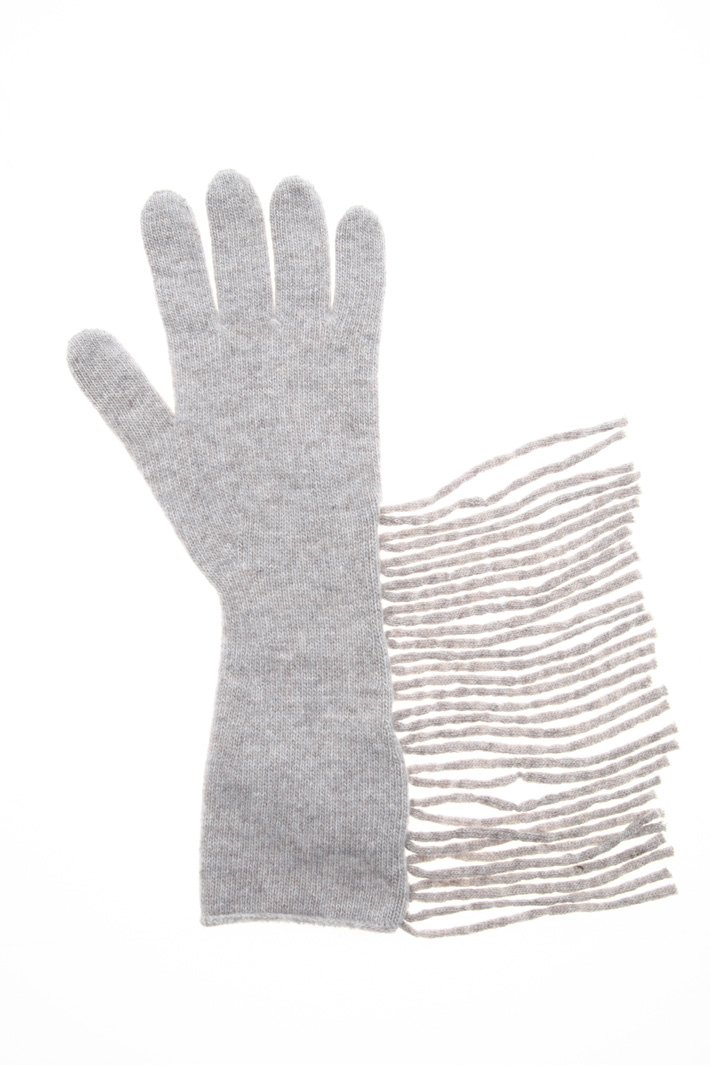 Fringed wool gloves Intrend