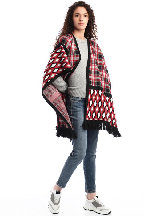 Wool jacquard poncho Intrend