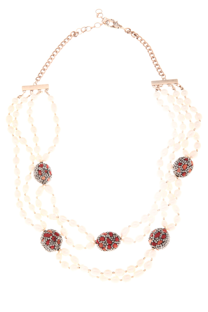 Pearl and rhinestone necklace Intrend
