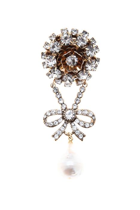 Rhinestone brooch with pearls Intrend
