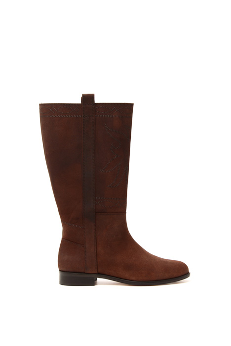 Embroidered leather boots  Intrend