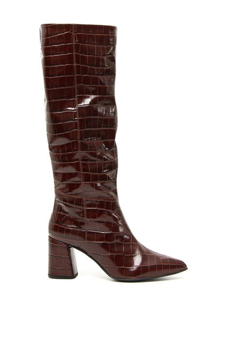 Crocodile print boots Intrend