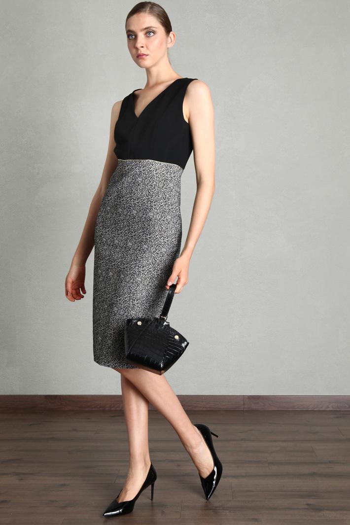 Cady and lurex jacquard dress Intrend