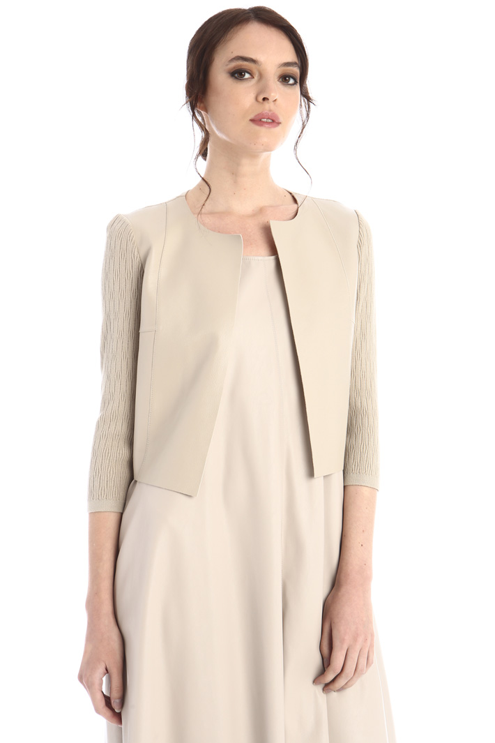 Cardigan with leather details Intrend
