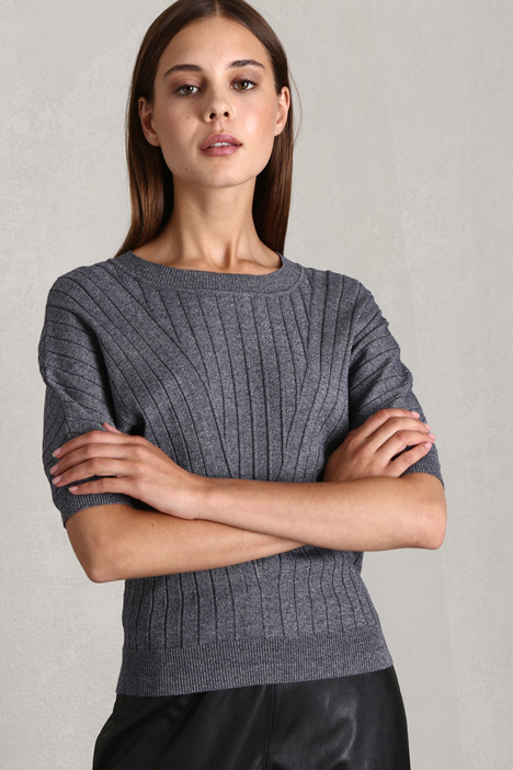 Ribbed short sleeve sweater Intrend
