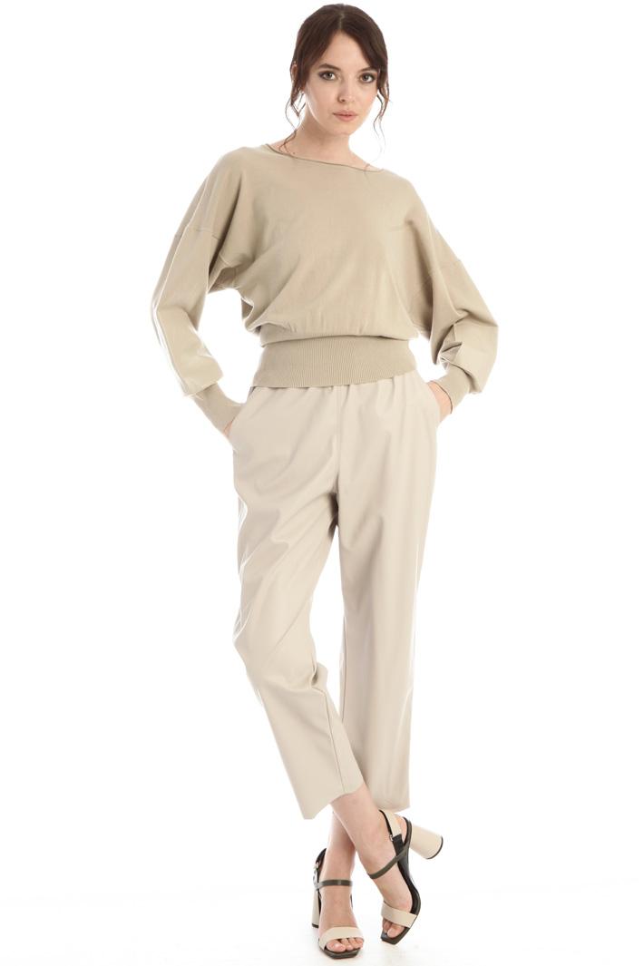 Leather trim sweater Intrend