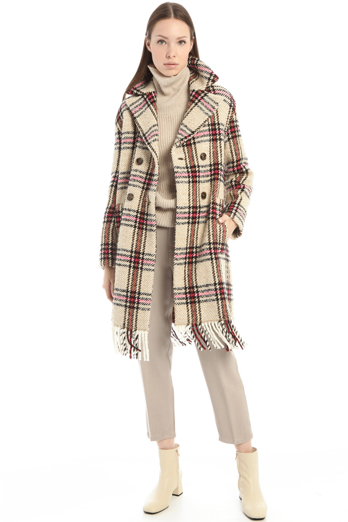 Cappotto in lana con frange Intrend