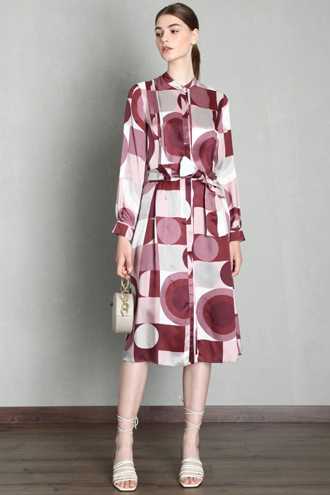 Belted twill dress Intrend