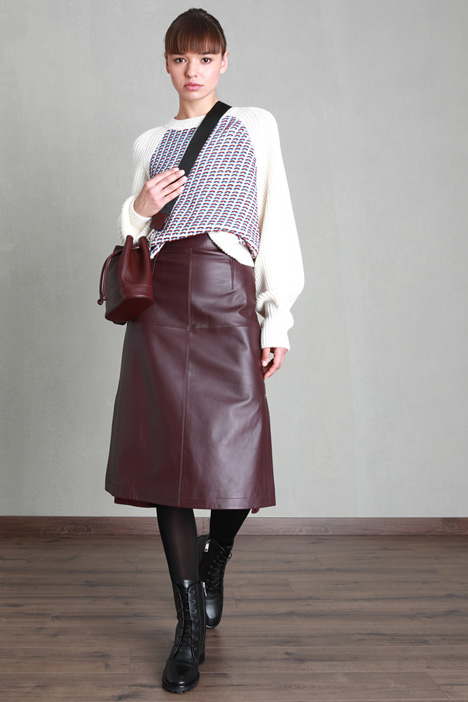 Smooth leather and suede skirt Intrend
