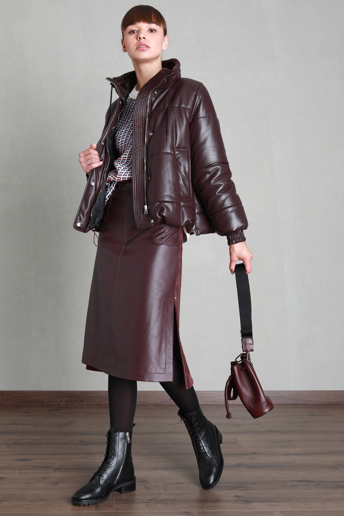 Oversized faux leather puffer Intrend