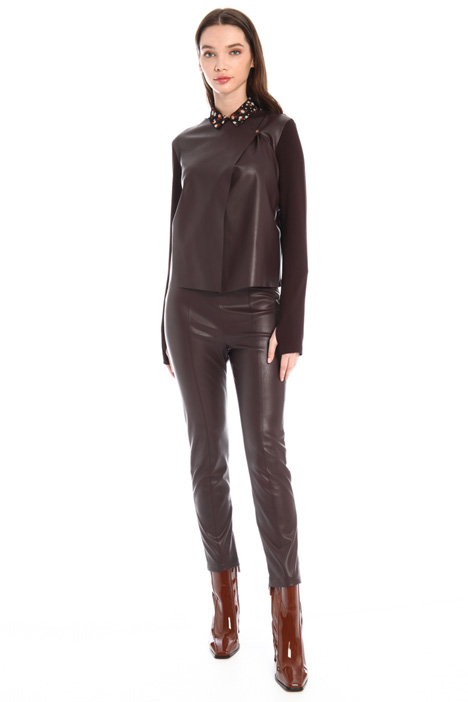 Faux leather and jersey jacket Intrend