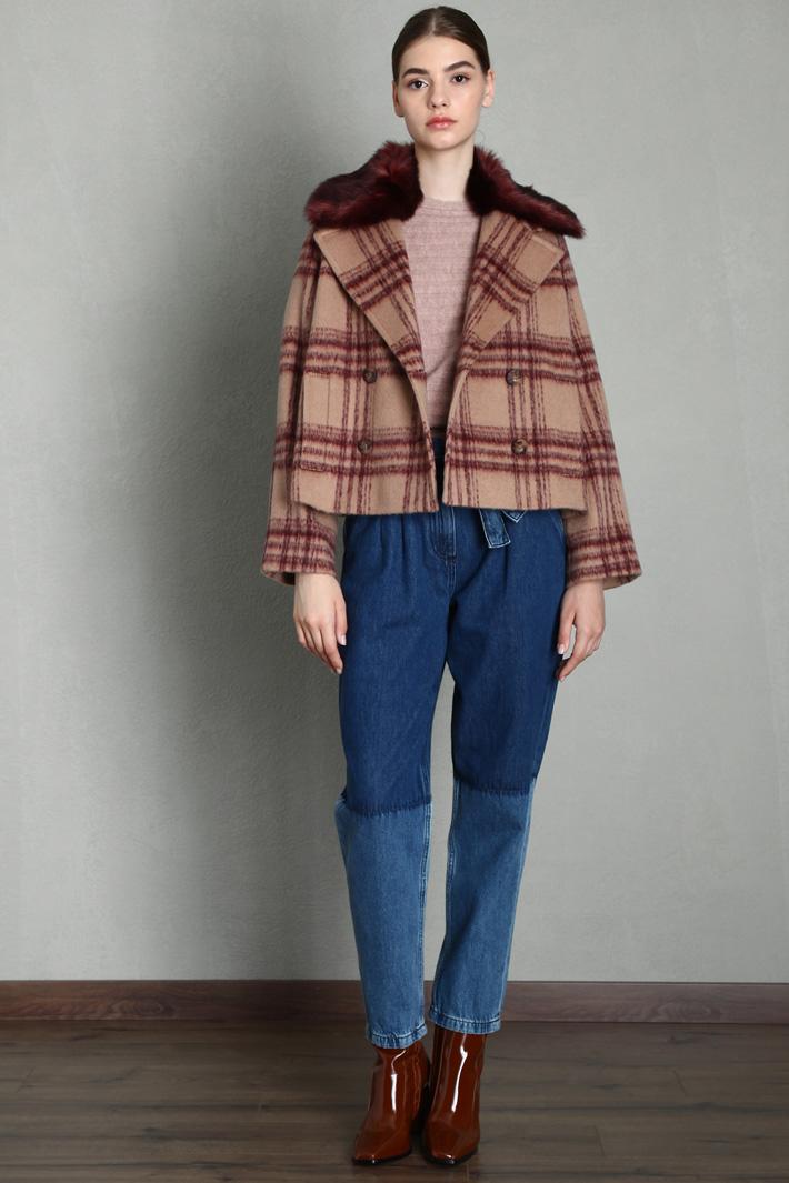 Fur trimmed pea coat Intrend